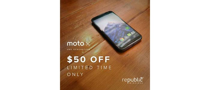 Republic Wireless Moto X (2nd Gen.) $50 off tomorrow, discount lasts 24 hours