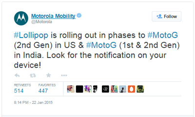 Moto G 2nd Gen receiving Lollipop update, Republic Wireless updates Moto G and E to 4.4, Moto X in Feb.