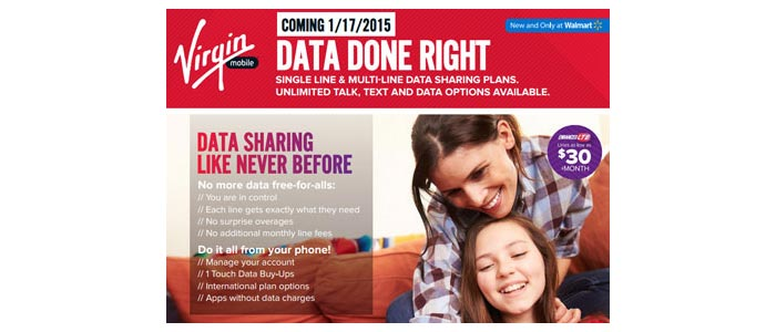 New Virgin Mobile sharing data plans for single and multi-lines launching January 17