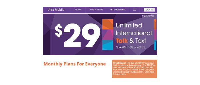Ultra Mobile adds more data to $29 and $39 plans