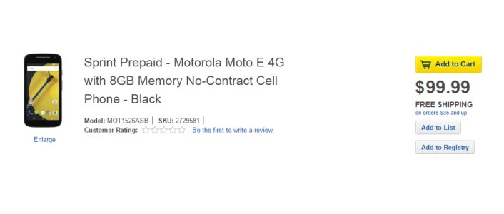 Moto E (2nd Gen.) appeared on Best Buy website with 4G LTE