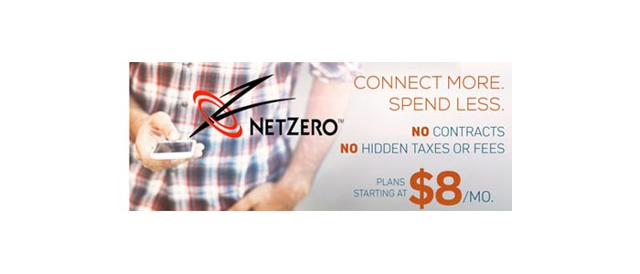 NetZero prepaid phone plans starting at $8 per month, promotion offering free devices