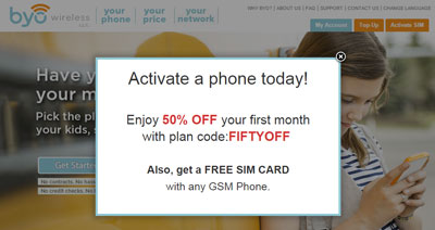 Byo Wireless gives 50 percent off first month of service and a free SIM
