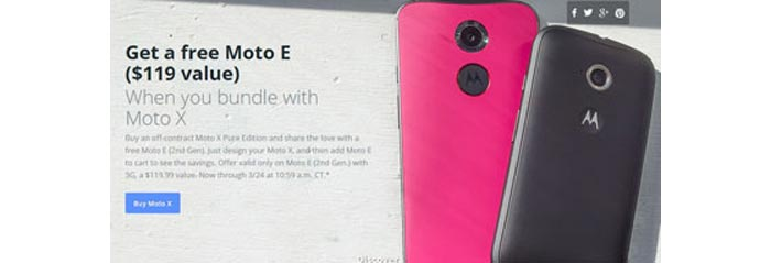 Motorola offering free Moto E (2nd Gen) 3G with Moto X Pure Edition purchase