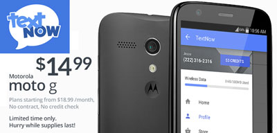 TextNow offers Moto G for $14 99 for a limited time