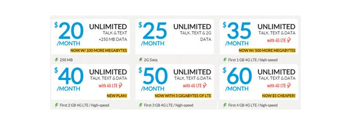 PTel adds more data to most of its unlimited plans, $65 plan is now $60