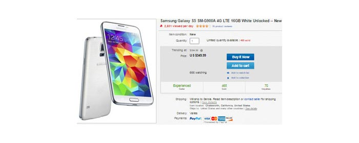 New unlocked Samsung Galaxy S5 16GB sells for $349.99