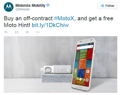 Off-contract Moto X (2nd Gen.) purchase includes a free Moto Hint until April 14