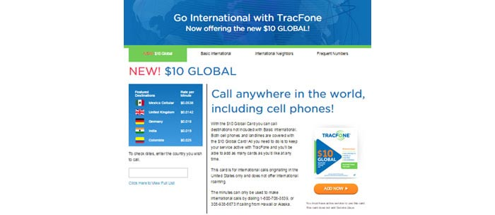 TracFone adds new $10 Global card to its prepaid international offerings
