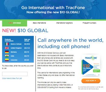 TracFone adds new $10 Global card to its prepaid