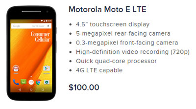 Consumer Cellular Moto E LTE launches for $100
