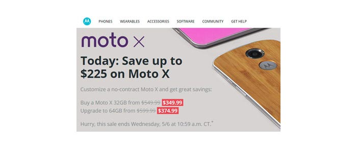 No-contract Moto X today only up to $225 off