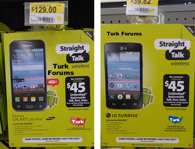 Straight Talk Samsung Galaxy Core Prime available at Walmart for $129, LG Sunrise too for $40