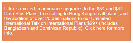 Ultra Mobile improves Data Plus plans, adds more destinations to international plans