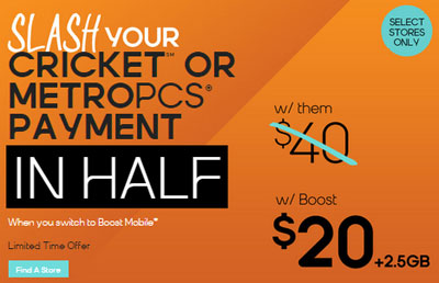 Boost Mobile offers MetroPCS, Cricket customers to switch and pay only half for service