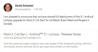 Unlocked Moto X (1st Gen.) getting Android 5.1 update