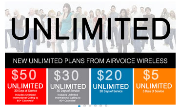 Airvoice adds new plans, the $20/month 100 MB plan and $5/5-day 25 MB plan