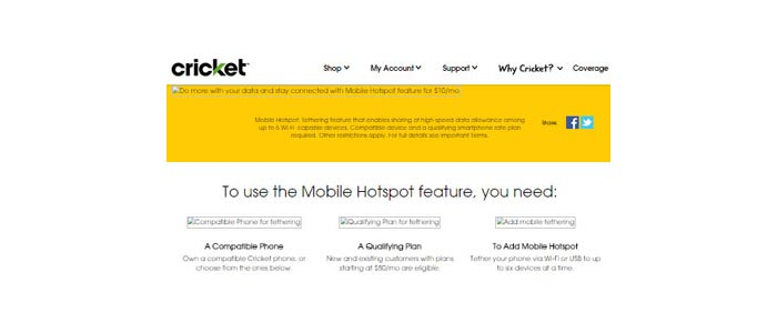 Cricket Mobile Hotspot added for $10 a month to $50 and $60 plans