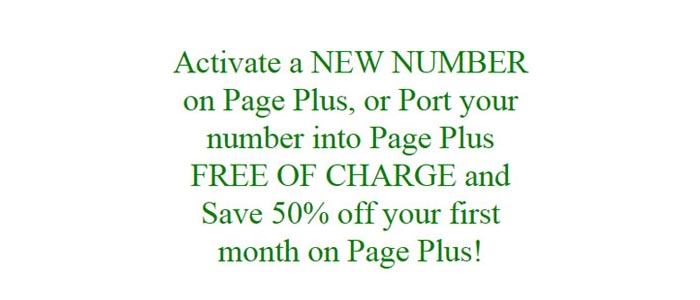 New Activation On Page Plus Get First Month At Half Price During September