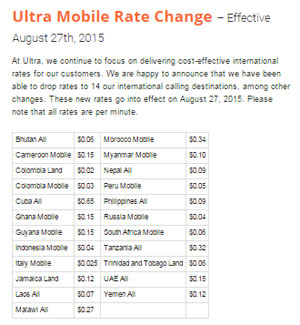 Ultra Mobile drops international calling rates for 14 countries