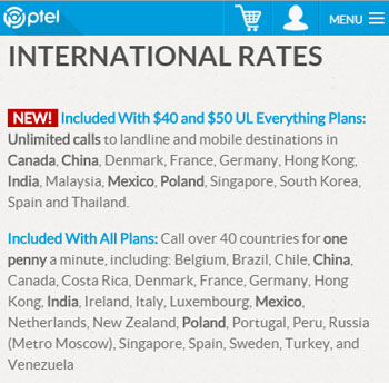 Ptel Includes Unlimited International Calling With $40 And $50 Unlimited Everything Plans