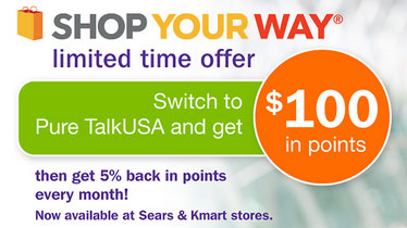 Pure TalkUSA switch promotion gives $100 in Shop Your Way points, Simple, AddVantage and unlimited plans change