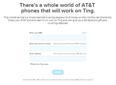 Ting offering $5 Starbucks gift card to AT&T customers who check their phone's IMEI number with Ting