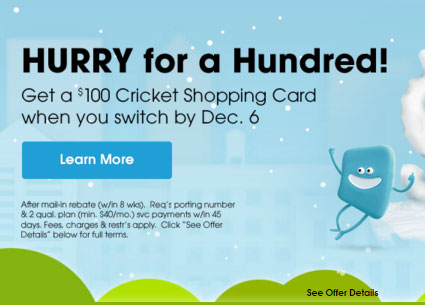 Cricket Gives $100 Cricket Shopping Card To Switchers As A Black Friday Special