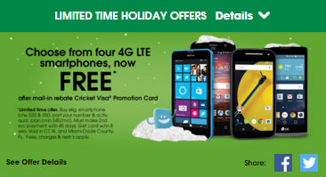 Cricket offers free 4G LTE phones after mail-in rebate to those who switch