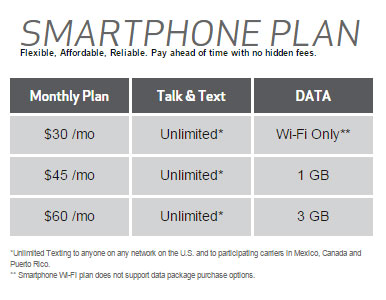 prepaid smartphone plans verizon prepaid adds wifi only smartphone plan for 30 363