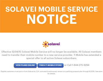 Solavei Mobile operations will be unavailable as of December 4, 2015