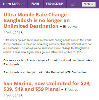 Ultra Mobile adds unlimited calling to San Marino and discontinues unlimited calls to Bangladesh