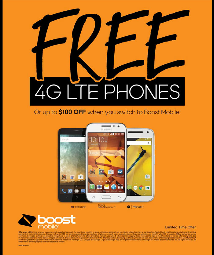 Free Boost Mobile 4G LTE Phone Or Up To $100 Discount For Customers Who Switch In RadioShack Stores