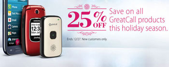 GreatCall Offers 25 Percent Off Its Products During Holidays, Good Until Dec. 27, 2015