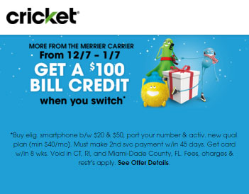 New Cricket Promotion Offers $100 Credit To Customers Who Switch By Jan. 7