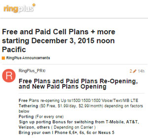 New RingPlus Promotion Offering Free And Paid Plans, Tethering And Free Porting From Dec. 3 Noon PST Through Dec. 5, 2015 Noon PST