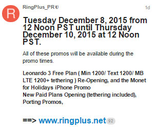 RingPlus Offers Free Leonardo 3 Plan, New Paid Plans, Monet Bundled With iPhone Promo And Free Port-Ins until Dec. 10 Noon PST