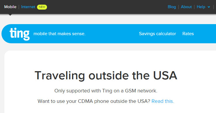Ting CDMA International Roaming No Longer Available