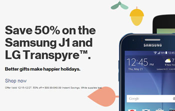 Verizon Prepaid Holiday Deals Offer 50 Percent Off Moto E, Galaxy J1 and LG Transpyre