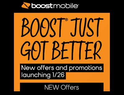 Boost Mobile Includes Family Plans, $5 Auto Pay Discount, Mobile Hotspot, Roaming, Boost Premier and Boost Dealz starting Jan. 26