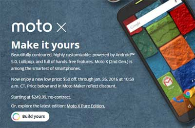 Motorola Takes $50 Off Of Moto X (2nd Gen.) Until Jan 26, 2016