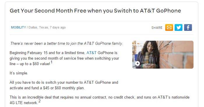 AT&T GoPhone Offers Second Month Free To Customers Who Switch