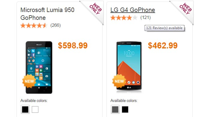 GoPhone Adds Lumia 950 And LG G4 To Its Prepaid Phone Lineup