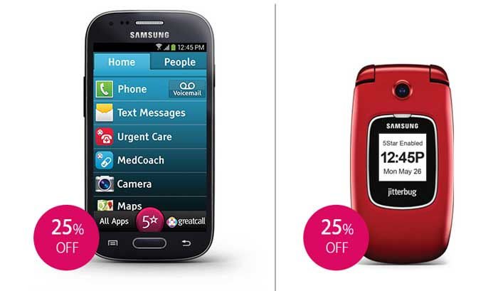 GreatCall Jitterbug5 And Jitterbug Touch3 25% Off For A Limited Time
