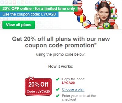 Lycamobile Coupon Code Promotion Gives 20% Off All Plans