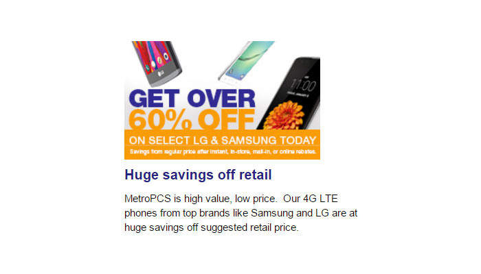 MetroPCS Discounts Select Samsung And LG Phones Over 60% Off