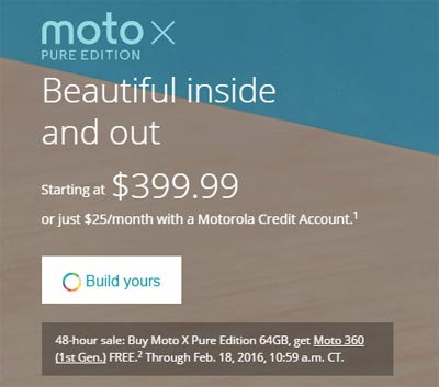 Motorola Offers Free Moto 360 (1st Gen.) With Moto X Pure Edition 64GB Purchase