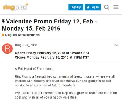 RingPlus Valentine Promo With Free Plans Available From Today, Feb 12 To Feb 15, 2016