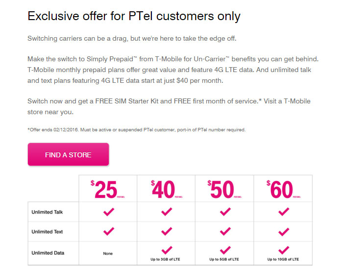 T-Mobile Offers PTel Customers To Switch And Get Free Month Of Service And Free SIM until Feb. 12
