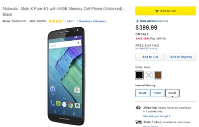 Moto X Pure Edition 64GB $100 Off At BestBuy, now only $399